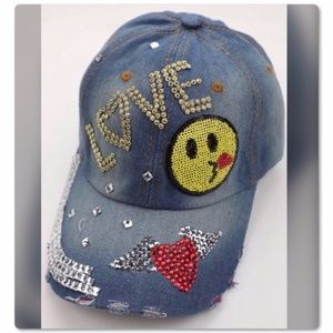 Heart Wing Love Rhinestone Distressed Hat
